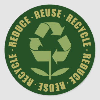 TJED Reduce Reuse Recycle [logo] Round Sticker