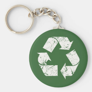 TJED Vintage White Recycle Sign On Green Basic Round Button Key Ring