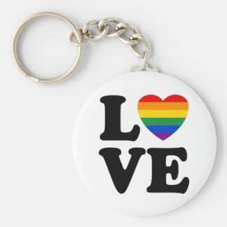 TJGL Rainbow Heart Love Basic Round Button Key Ring