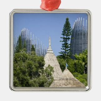 Tjibaou Cultural Centre, Noumea, New Caledonia 2 Silver-Colored Square Decoration