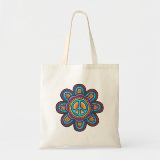 TJP RND Hippie Peace Flower Budget Tote Bag