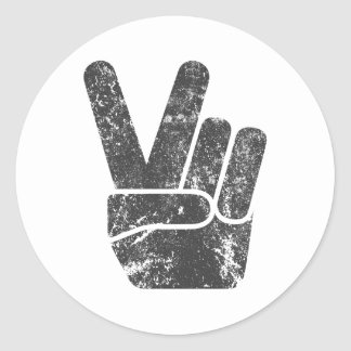 TJP Vintage Black Peace Sign Hand Classic Round Sticker