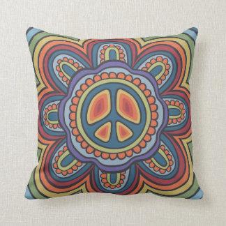 TJP Vintage Colors Peace Flower Hippie Cushion