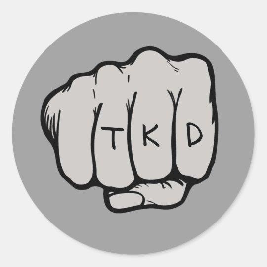 TKD Fist Round Sticker