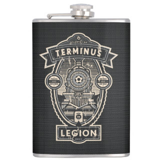 TL Train Flask with Ribbon Logo Back