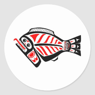 Tlingit Halibut Round Sticker