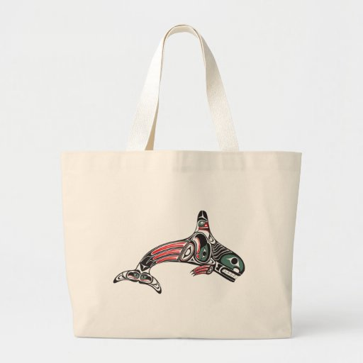 Tlingit Killer Whale & Eagle Jumbo Tote Bag