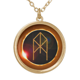 TME Solar Bindrune Gold Plated Necklace