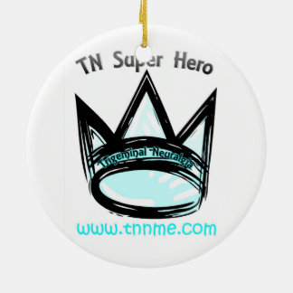 TN Super Hero Holiday Ornament. Round Ceramic Decoration