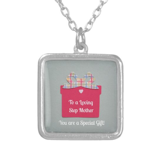 To a Loving Step Mother Silver Plated Necklace