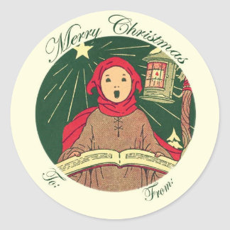 To and From Christmas Caroler Gift Tag Label Round Sticker