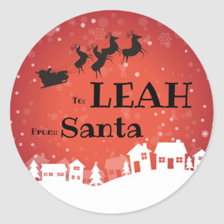 To Child From SANTA Gift Label Houses and Sleigh