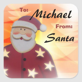 To Child From SANTA Gift Label Red and Gold v6A