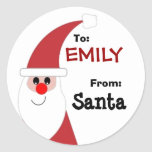 To Child From SANTA Gift Label Red and White v5 Round Sticker