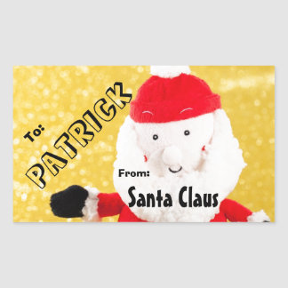 To Child From SANTA Gift Label Red Gold White V5B
