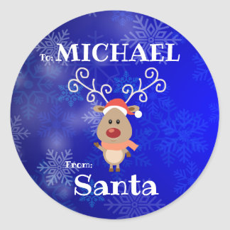 To Child From SANTA Gift Label Reindeer Snowflakes