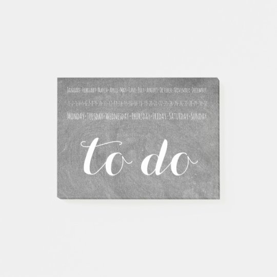 To Do Calendar Chalkboard Look Typography Post-it Notes