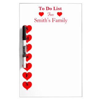 To Do List for children & Adults with Red Heart Dry Erase Boards