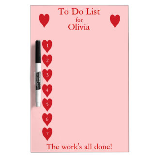 To Do List for children  (red hearts on pink) Dry Erase Whiteboards