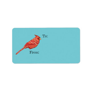 To From Christmas Gift Tag Sticker Cardinal