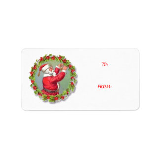 To From Vintage Santa Wreath Christmas Tag