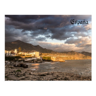 to get late in the beach of Nerja in Malaga Postcard