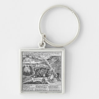 To God, in Memory of his Double Deliverance Silver-Colored Square Key Ring
