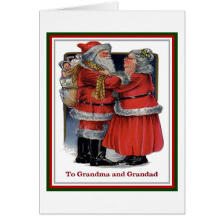 To Grandma and Grandad Mr and Mrs Claus Christmas Greeting Card