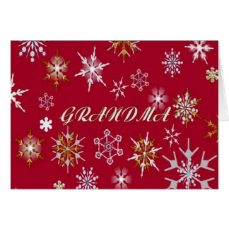 To Grandma At Christmas Greeting With Snowflakes Greeting Card