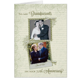 To Grandparents on _th Anniversary-Custom Then&Now Greeting Card