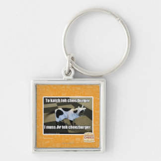 To katch teh cheezburger Silver-Colored square key ring