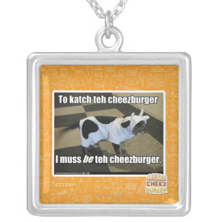 To katch teh cheezburger silver plated necklace