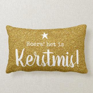To kiss. Gold glitter-print. Christmas Lumbar Cushion