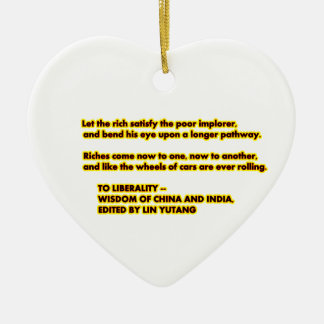 TO LIBERALITY Yellow Red2  Words to Live By jGibne Ceramic Heart Decoration