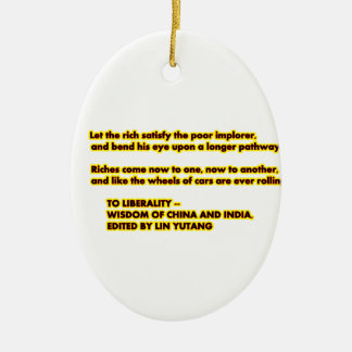 TO LIBERALITY Yellow Red2  Words to Live By jGibne Ceramic Oval Decoration