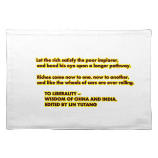 TO LIBERALITY Yellow Red2  Words to Live By jGibne Placemats