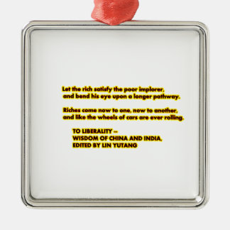 TO LIBERALITY Yellow Red2  Words to Live By jGibne Silver-Colored Square Decoration