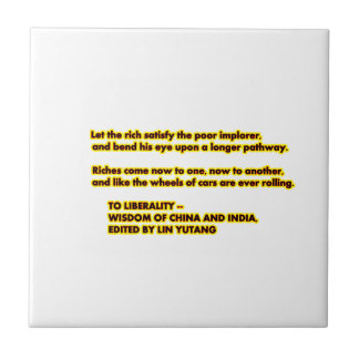 TO LIBERALITY Yellow Red2  Words to Live By jGibne Small Square Tile