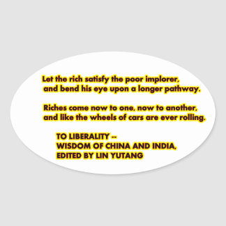 TO LIBERALITY Yellow Red2  Words to Live By jGibne Oval Sticker