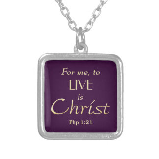 To Live is Christ Purple Christian Square Pendant Necklace