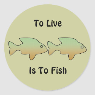 To Live is to Fish, two green & gold fish stickers