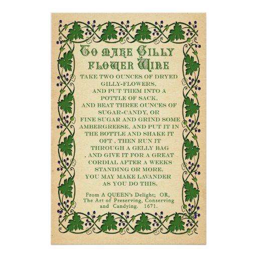 To Make Gilly Flower Wine - Antique Recipe Poster