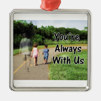 To Missing Dad - You're Always With Us Silver-Colored Square Decoration