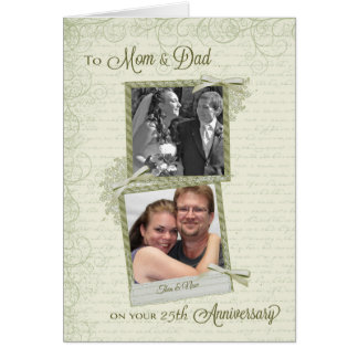 To Mom & Dad on __th Anniversary-Custom Then & Now Cards