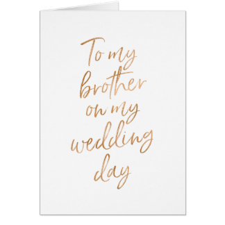 To my Brother on my wedding | Stylish Gold Rose Card