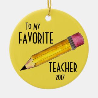 To My Favorite Teacher Yellow 2 Pencil School Gift Christmas Ornament