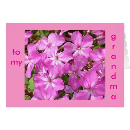 To My Grandma Birthday Pink Flowers Card