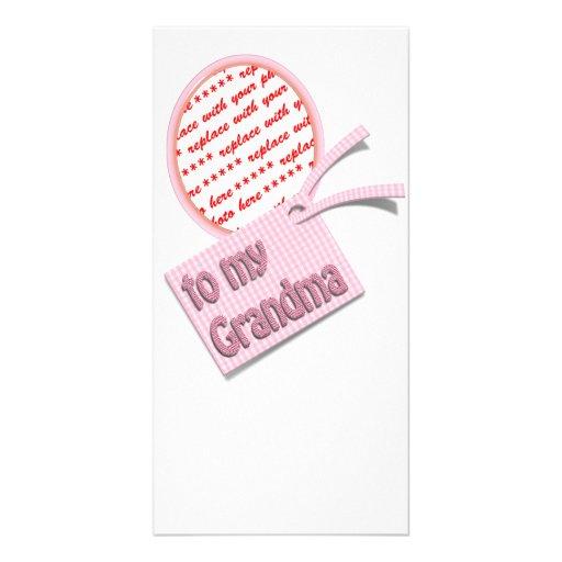 To My Grandma Oval Photo Frame Photo Greeting Card