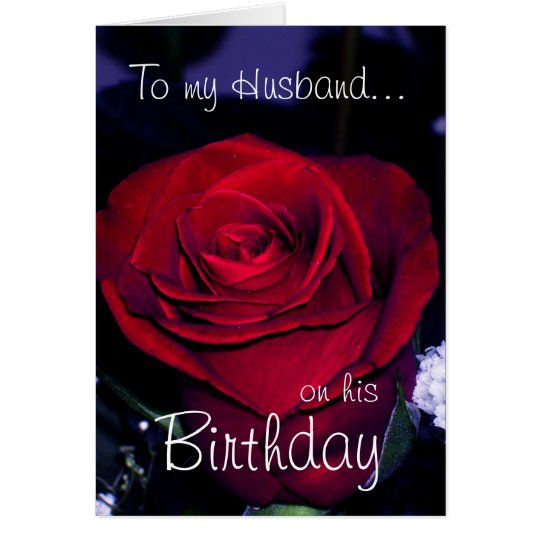 To my Husband on his Birthday-Red Rose Card