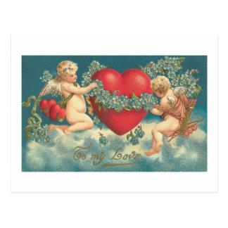 To My Love Cherubs with Heart Postcard
